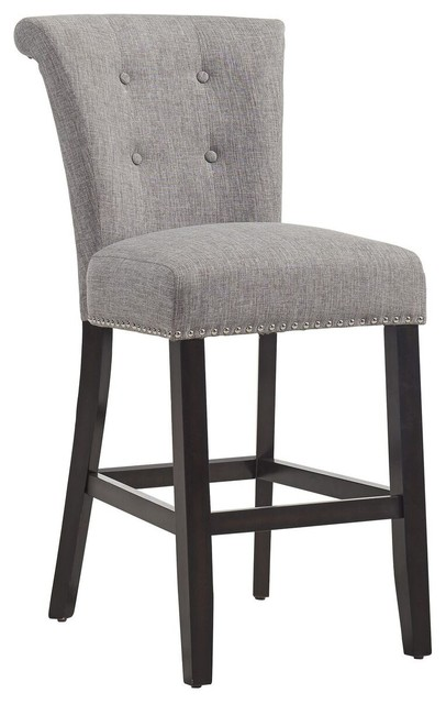 fabric bar stools with backs and arms upholstered uk button tufted counter stool set coffee leg transitional grey australia