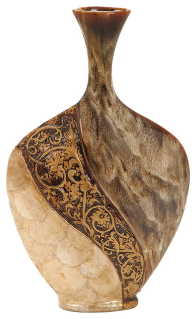 "Joelle Ceramic and Capiz Shell Vase, 18"""