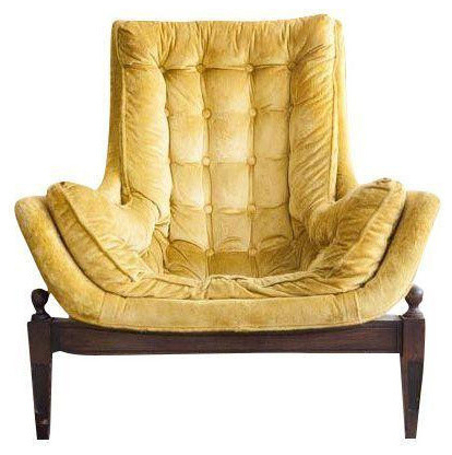 Mid-Century Yellow Velvet Tufted Bucket Chair
