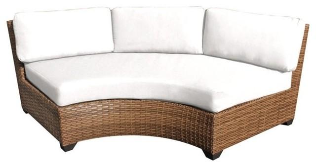 Sensational Tkc Laguna Curved Armless Patio Sofa In White Set Of 2 Creativecarmelina Interior Chair Design Creativecarmelinacom