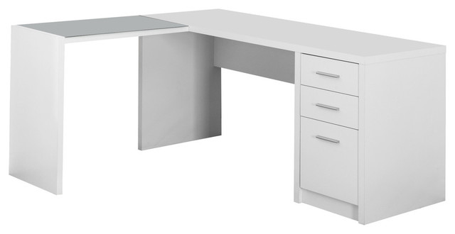 Monarch Specialties Computer Desk White Corner With Tempered Glass.