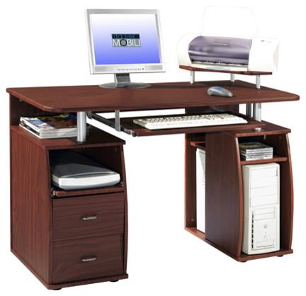 Workday Essential Dual Pedestal Computer Desk, Mahogany.