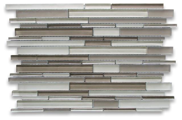"12.13""x18.63"" Beige Blends Glass Random Strip Modern Brick Mosaic Tile."