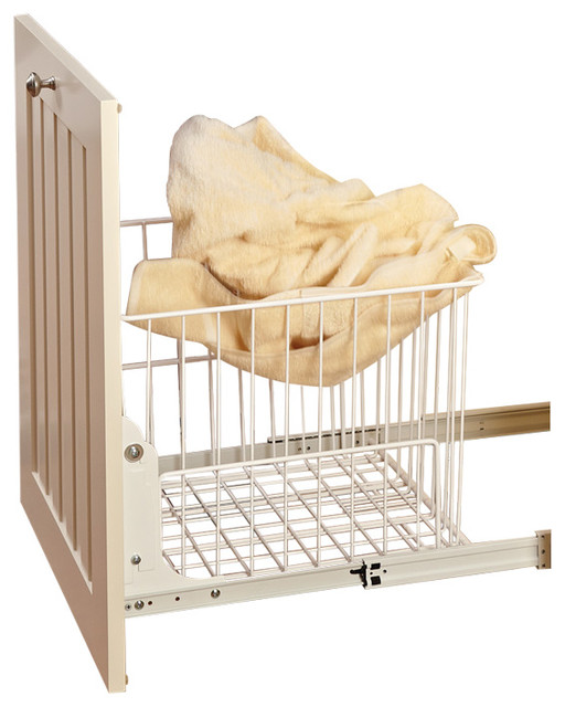 White Wire Pull-Out Hamper With Full-Extension Slides.