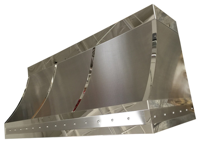 Fine Design Fabrication Handcrafted Brushed Stainless Steel Range Hood Mirrored Straps and ...