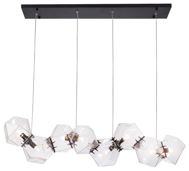 Black Stainless Steel Hardware With Clear Gl Geometric Frame Lighting Fixture