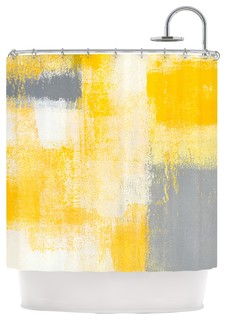 "CarolLynn Tice ""Breakfast"" Gray Gold Shower Curtain"