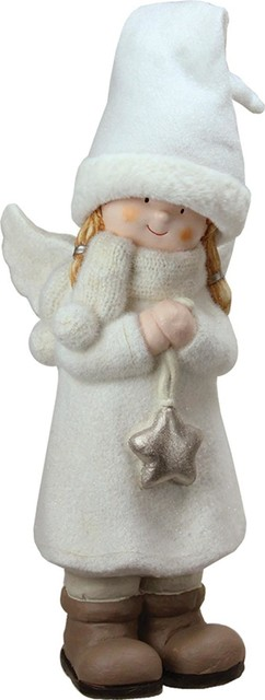"19.75"" Decorative White Winter Girl Angel With Star Christmas Table Top Figure."