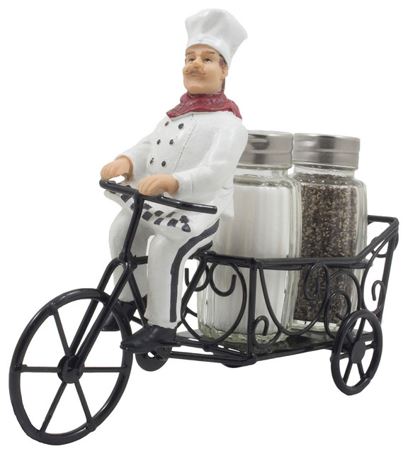 French Chef Riding Bicycle Cart Glass Salt And Pepper Shaker, 3-Piece Set.