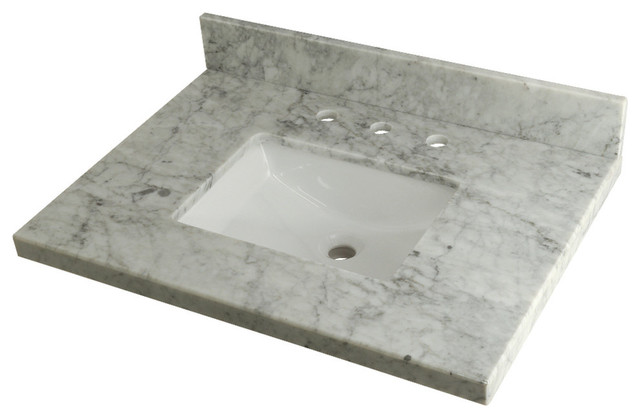 Kingston Brass 30 X 22 Carrara Marble Vanity Top W Square Sink Carrara Marble Transitional Bathroom Sinks By Kingston Brass Houzz