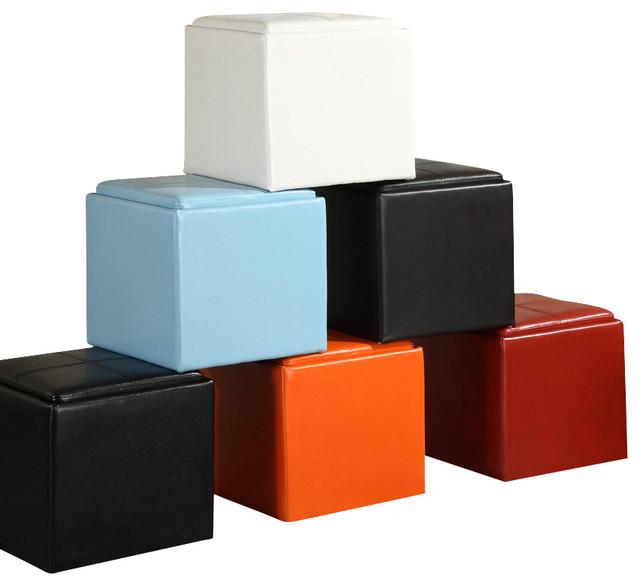 Gentil Homelegance Ladd Storage Cube Ottoman In Bi Cast Vinyl   Black