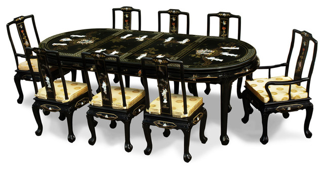 96 Quot Black Lacquer Pearl Figure Motif Oval Dining Table