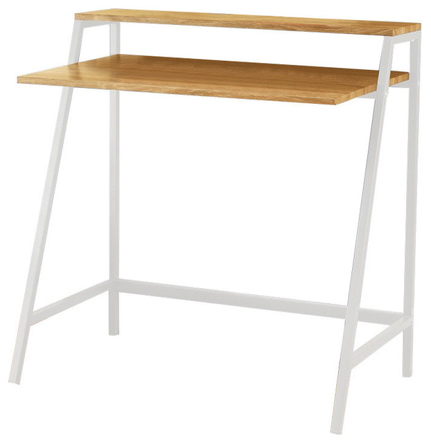 Pilaster Designs Metal With Wood Computer Desk With Shelf