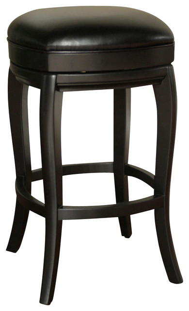 American Heritage Madrid Stool In Black With Toast Leather