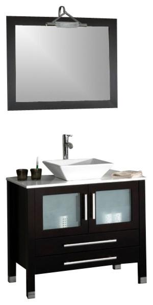Cambridge 36 Solid Wood And Porcelain Single Vessel Sink Vanity, Chrome Faucet.