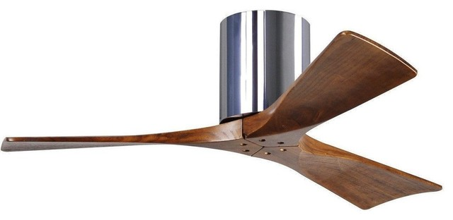 "Irene Hugger 3 Bladed Fan In Polished Chrome With Walnut Blades 42""."