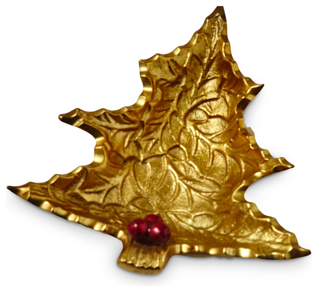 Holly Sprig 6.25-inch Petite Gold Tree Bowl