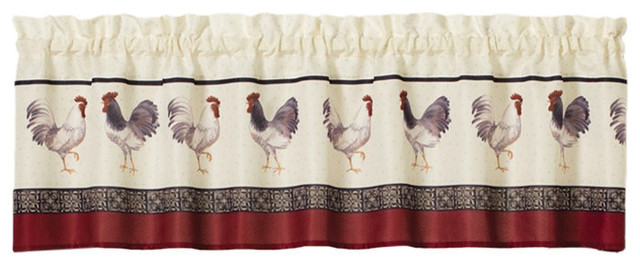 French Country Rooster Kitchen Curtain Valance.