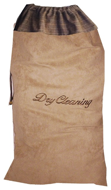 Men&x27;s Dry Cleaning Bag - Embriodered Faux Suede, Habedashery.