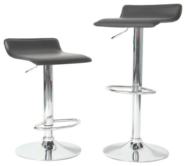 Leick Furniture 34 Adjustable Swivel Stool in Black Bar Stools Set of 2