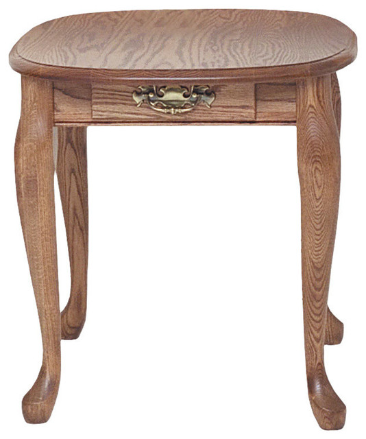 Beau Solid Oak Queen Anne End Table With Drawer, Autumn Oak