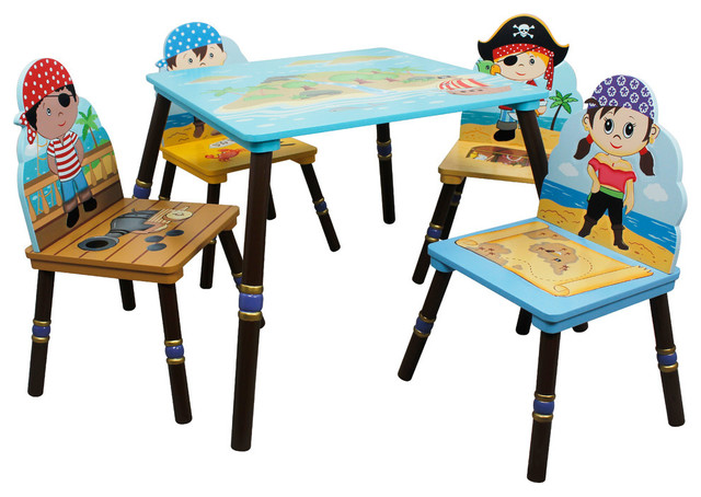 Pirate Island Kids Wooden Table Set, 4 Chairs Contemporary Kids Tables And