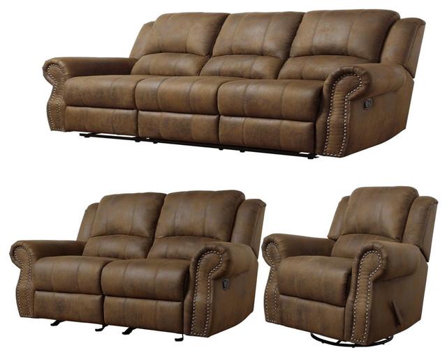 Coaster Sir Rawlinson 650151-S3 3-Piece Living Room Set, Brown