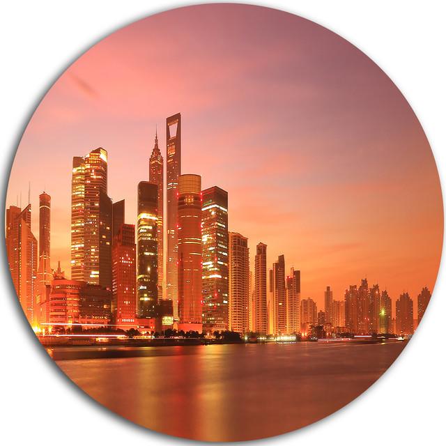 Shanghai Skyline At Dawn Cityscape Photo Round Wall Art 11