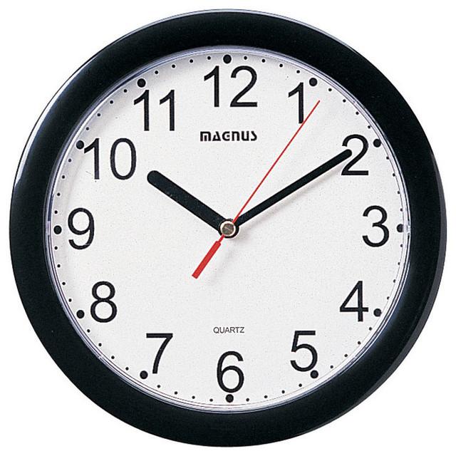 "8"" Dia Round Black Wall Clock Plastic Face"