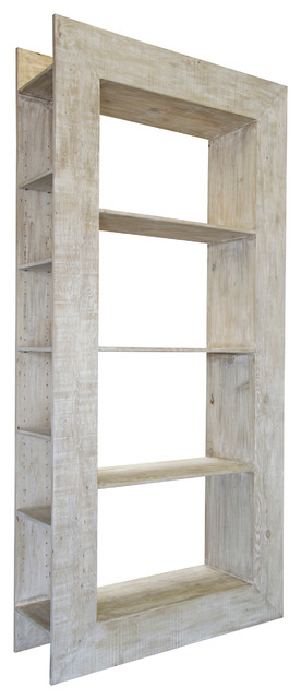 Portsmouth Coastal Beach White Wash Reclaimed Wood Bookcase.