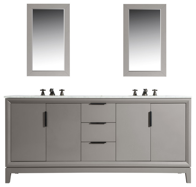 Terrific Elizabeth 72 Double Sink Carrara White Marble Vanity Cashmere Gray Home Interior And Landscaping Synyenasavecom