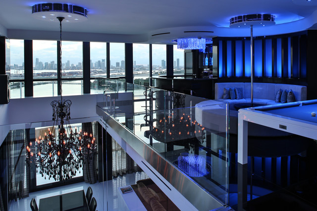 cool modern luxury penthouse living room | Miami Penthouse Mancave Gameroom Luxury Living ...