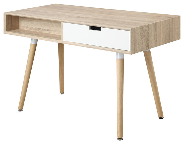 Natural Finish Modern Writing Desk Midcentury Desks And - Contemporary writing desk furniture