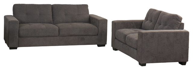 Corliving Club 2-Piece Turfted Chenille Fabric Sofa Set, Gray.