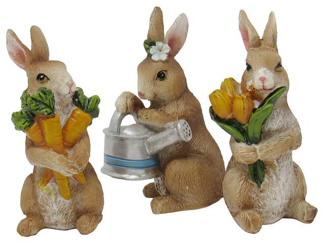 Miniature Fairy Garden Flopsy Rabbits 3 Piece Set