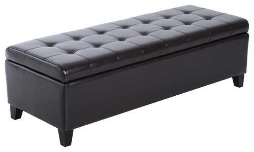 51 PU Leather Tufted Storage Ottoman Bench, Brown