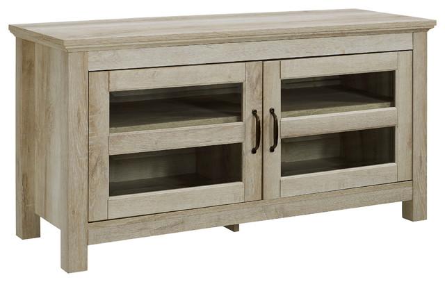 "We Furniture 44"" Wood Tv Media Stand Storage Console, White Oak."