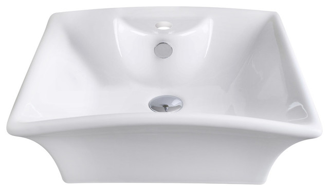 Rectangle Vessel Set, White Color With Single Hole Cupc Faucet.