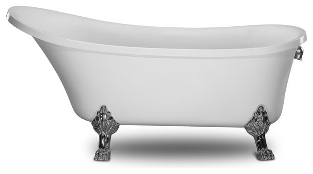 . Kokss Cesano 63  Freestanding Modern Seamless Acrylic Clawfoot Bathtub   White