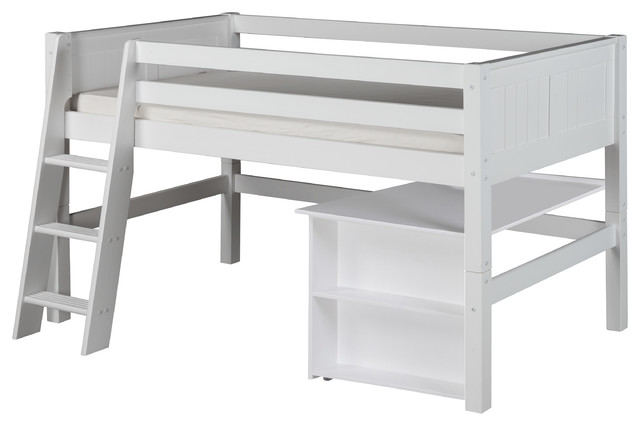 Beau Camaflexi Twin, Low Loft Bed With Retractable Desk, Panel Headboard, White