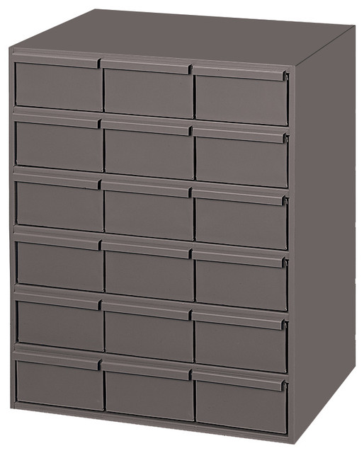 Durham Gray Cold Rolled Steel Vertical Storage Cabinet, 18 Drawer - Industrial - Garage And Tool ...