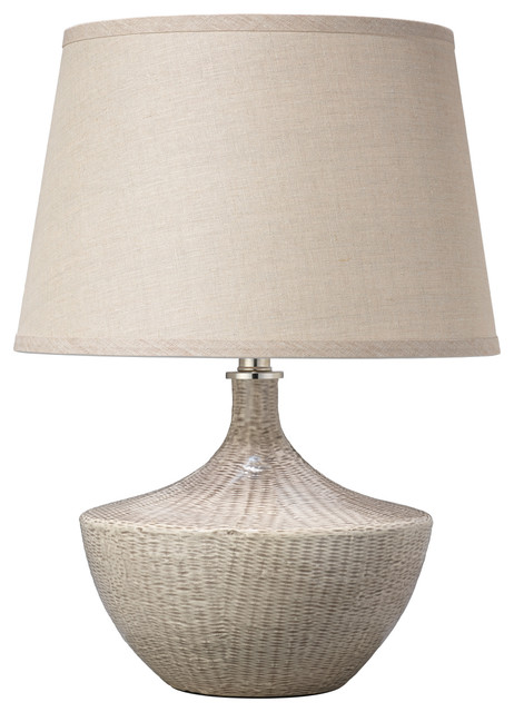 Basketweave Table Lamp, Off White Ceramic With Medium Open Cone Shade.
