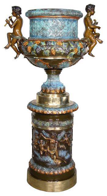 Large Decorative Bronze Urn With Cherub Handles, Special Patina Finish
