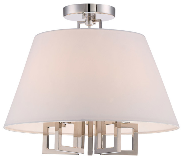 Westwood 5-Light Semi-Flush Mounts, Polished Nickel.