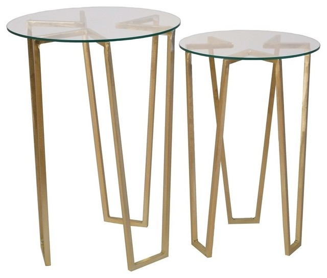 Sagebrook Home Gold Tripod Accent Tables, Glass Top, Set Of 2