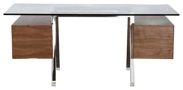 Midcentury Modern Homework Desk Double Cube, Stainless Steel And Glass, Walnut.