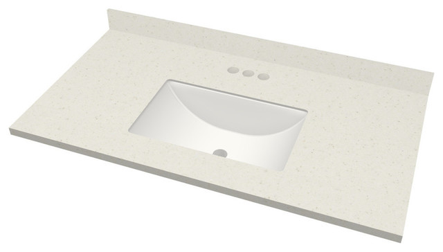 "Linen Corian Vanity Top, 43""x23"", Set-On Backsplash, Rect Sink, 4"" Spread."