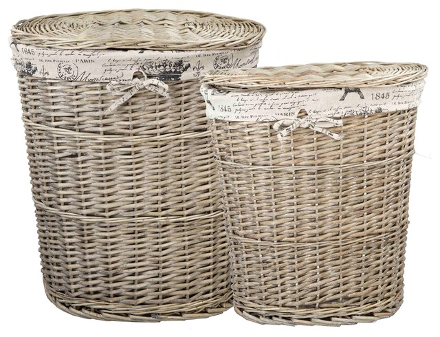 Home basics paris 2 piece wicker hamper with liner traditional kids hampers by home basics - Wicker hamper with liner ...