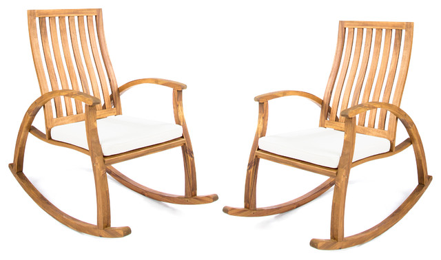 Cattan Outdoor Acacia Wood Rocking Chairs, Set Of 2, Natural Stained, Cream.