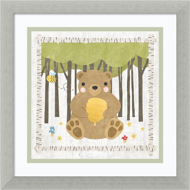 "Framed Art Print &x27;woodland Hideaway Bear&x27;, Moira Hershey, 13""x13""."